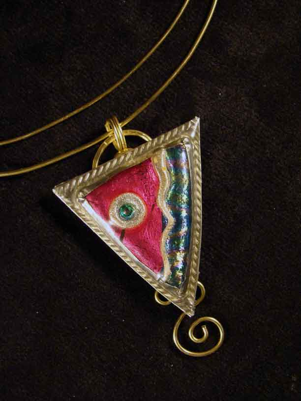 Triangle Brass and Friendly Plastic Pendant