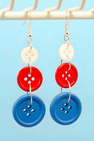 Americana Button Earrings