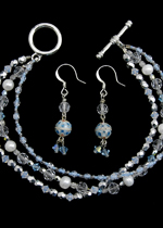 Blue Ice Bracelet and Earrings