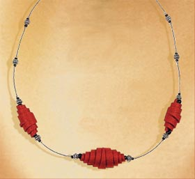 Red Polymer Clay Bead Necklace