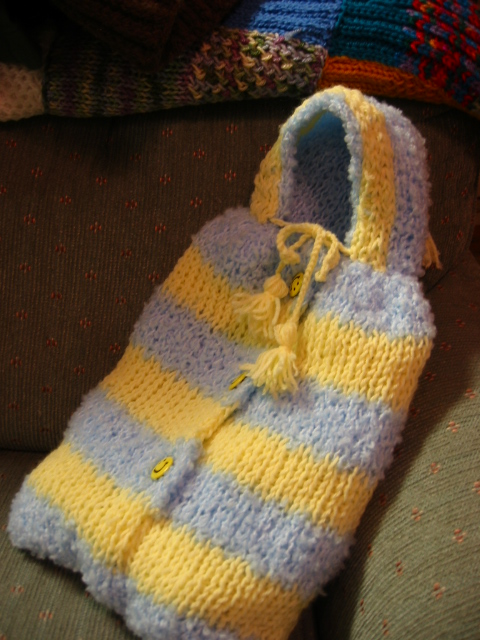 Knitted baby bunting - photo#4
