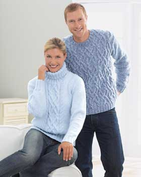 Free Knitting Pattern - Turtleneck Collar Aran Sweater from the