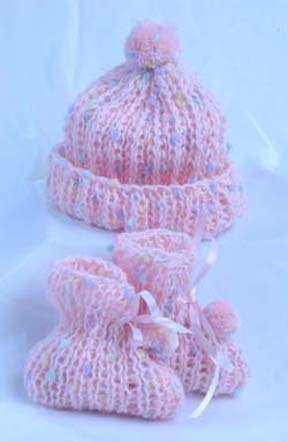 Baby Booties and PomPom Hat