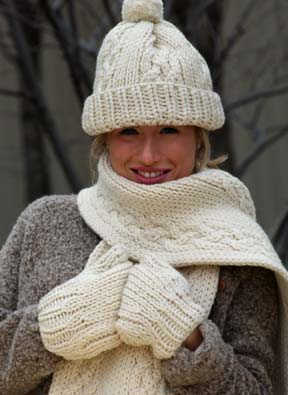 cable hat, scarf, and mittens