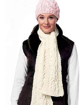 Free Knitting Pattern 30044-K Beginner's Hat and Scarf