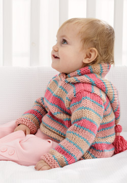 Knitting Pattern For Childs Chunky Cardigan : Chunky Hoodie Baby Sweater Knitting Pattern FaveCrafts.com