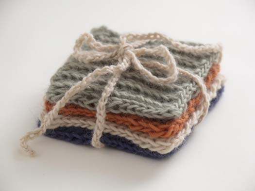 Spool knit I-cord coaster. The perfect beginner project. Great for children t...