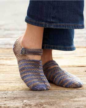 Knitted House Slippers Pattern : Knit Mary Slippers AllFreeKnitting.com