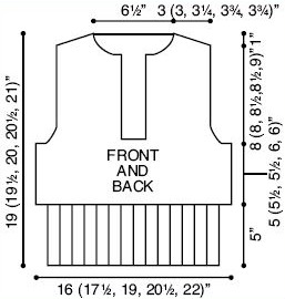 Front and Back Diagram of Hooded Sweater