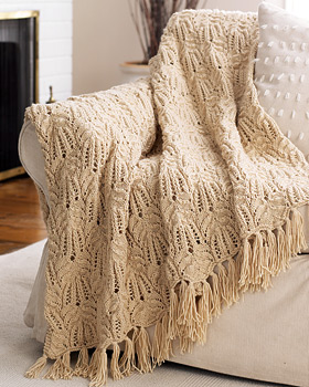 Lace Cable Knit Afghan