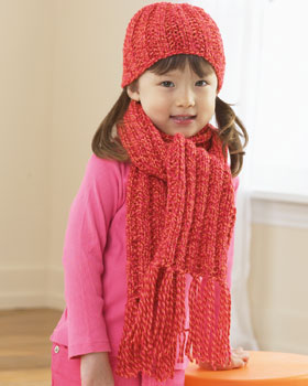 Ribbed Hat and Scarf for Child Knitting Pattern FaveCrafts.com