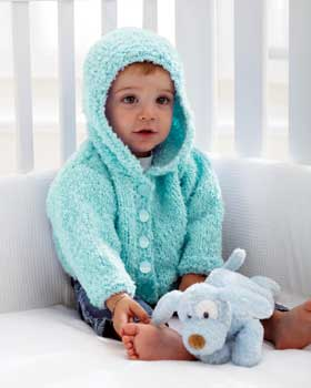Knitting Pattern Hoodie Child : Soft Knit Baby Hoodie FaveCrafts.com