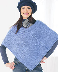 Easy Knitting Patterns For Beginners Poncho : Two-Piece Knit Poncho FaveCrafts.com