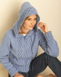 Cable Cardigan with Hood