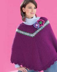 Flowers Knit Poncho