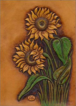 Leather Sunflower Notebook