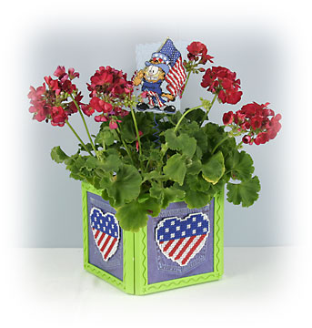 4th of July planter Plastic Canvas Crafts