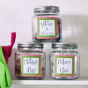 Craft Room in a Jar How to Organize Your Home: DIY Storage Ideas