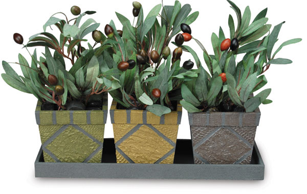 Trio of Textured Garden Planters