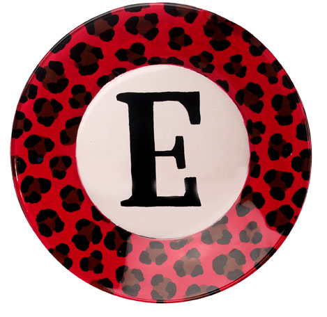 Leopard Monogram Painted Plate