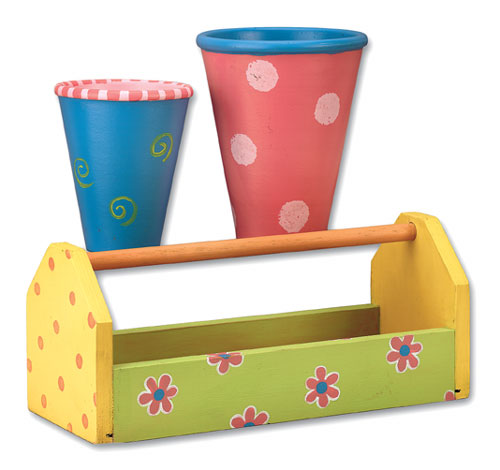 Flower Garden Caddy and Rose Pots
