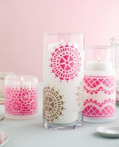 Martha Stewart Stenciled Candle Hurricanes