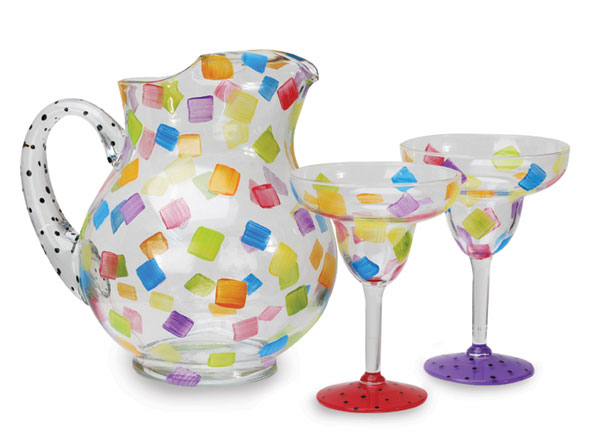painted pitcher and glasses