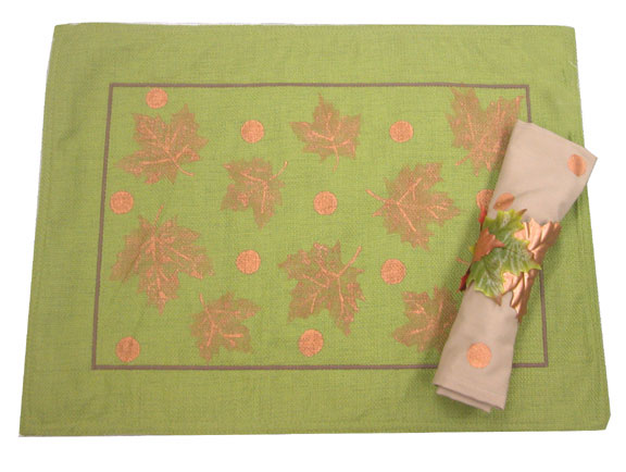Green and Gold Leaf Placemat and Napkin Ring