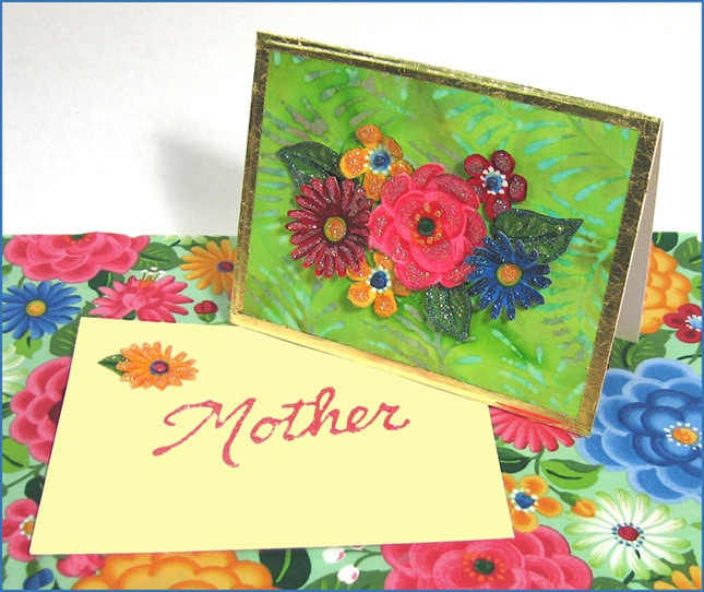 Fabric Flower invitations for mothers day