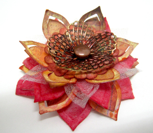 Romantically Rustic Mixed Media Flower