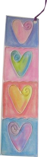 Hearts Glue Embossed Bookmark