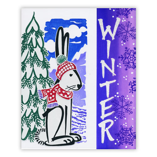 Bunny Stamp Winter Card