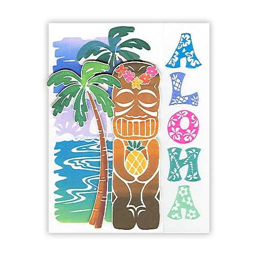 Aloha Hawaiian Stamped Card