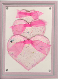 Three Hearts Handmade Paper Card