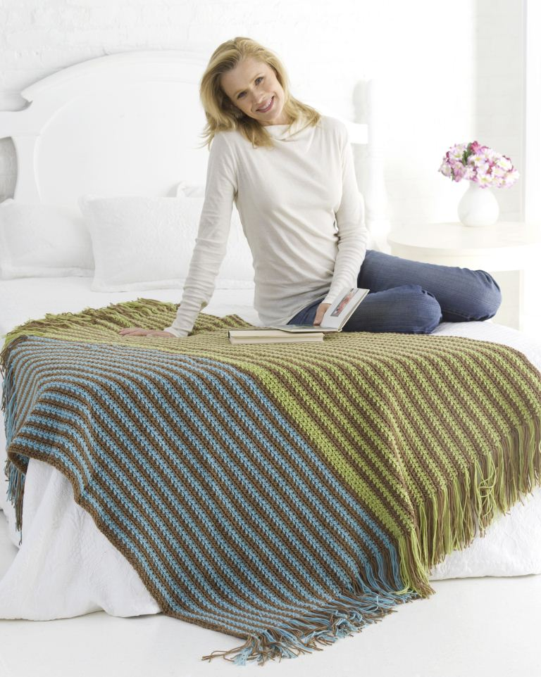 Warm Stripes Crochet Afghan