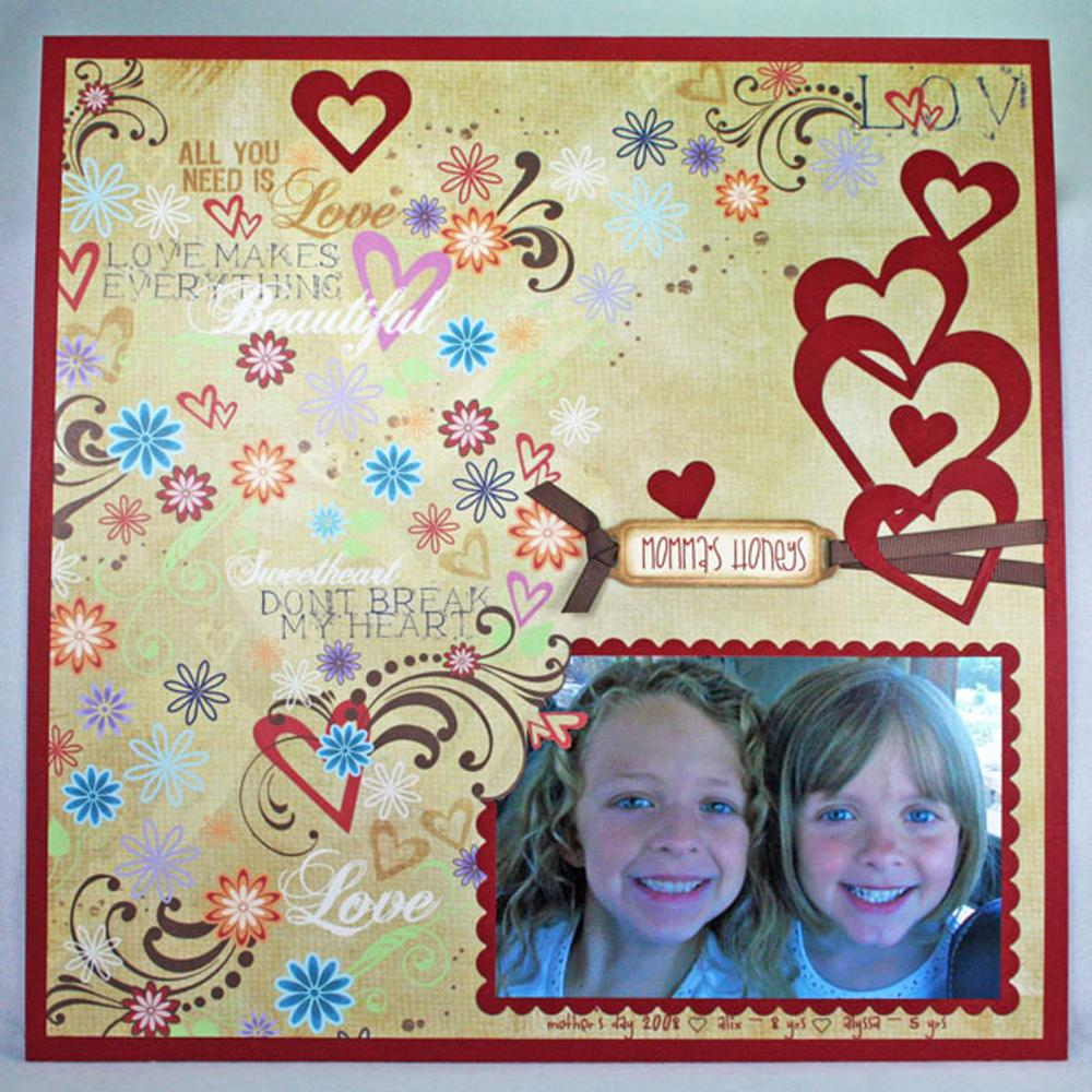 Honey hearts Free Scrapbook Layout