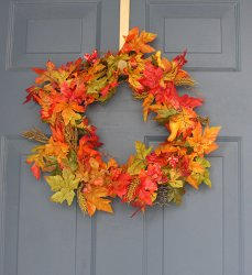 Craft Ideas Acorns on Colorful Fall Wreath   Favecrafts Com