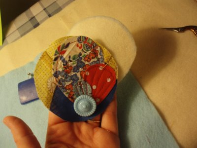 Fabric Scrap and Button Brooch 8