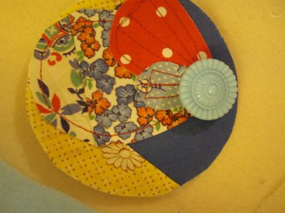 Fabric Scrap and Button Brooch