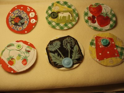 Fabric Scrap and Button Brooches