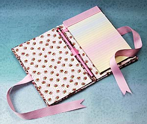 Fabric and Ribbon Notebook Inside