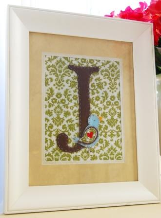 Framed Monogram with Bird