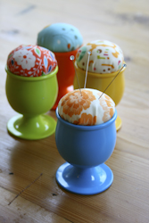 Group of Eggcup Pincushions