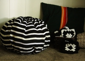 recycled rug poufs