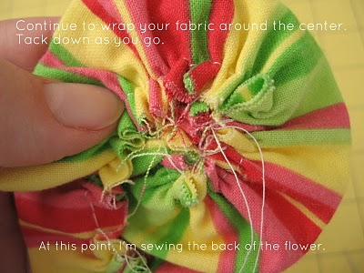 Ruffled Fabric Flower Pin step 7