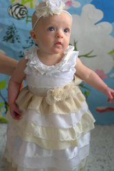 White and Cream Ruffle Dress