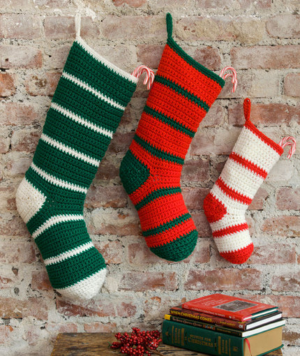 Knit Pattern For Striped Christmas Stocking : Simple Striped Santa Stockings FaveCrafts.com