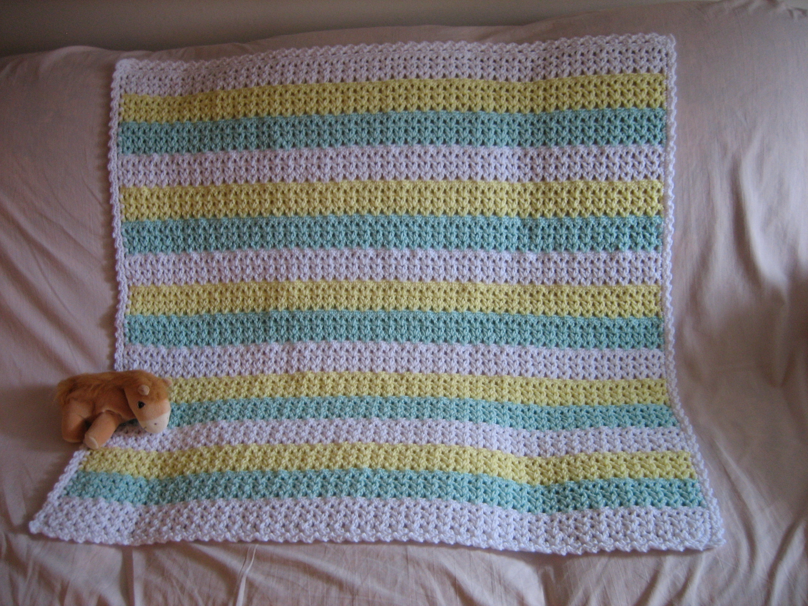 X Stitch Crochet Baby Blanket Pattern : Striped Crochet Afghan FaveCrafts.com