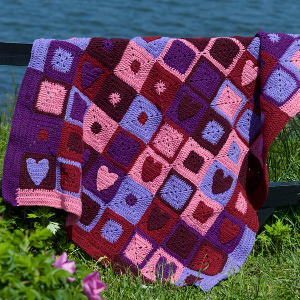 Crochet Afghan Patterns With Hearts : Crochet Valentine Hearts Afghan FaveCrafts.com