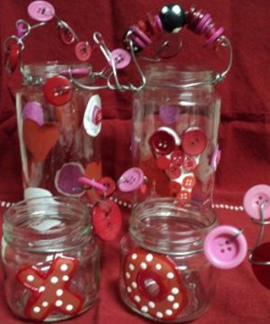 cute as a button valentine's day jars